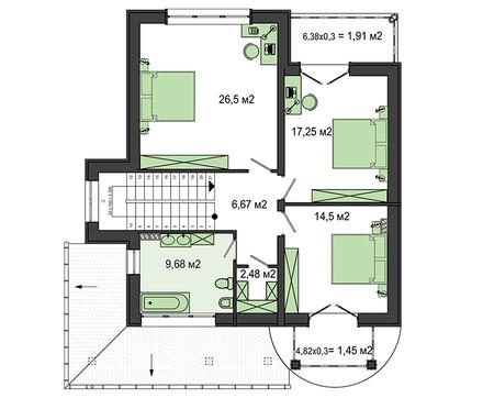 Красивый проект особняка с огромным круглым панорамным окном в спальне