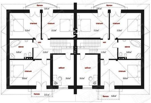Красивый проект просторного комфортного коттеджа на две семьи с гаражом