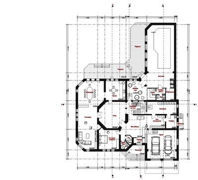 Проект шикарного загородного особняка с цокольным этажом