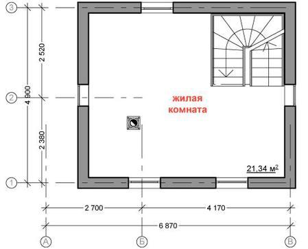 Проект гостевого мансардного дома с баней и жилой комнатой на 2 этаже